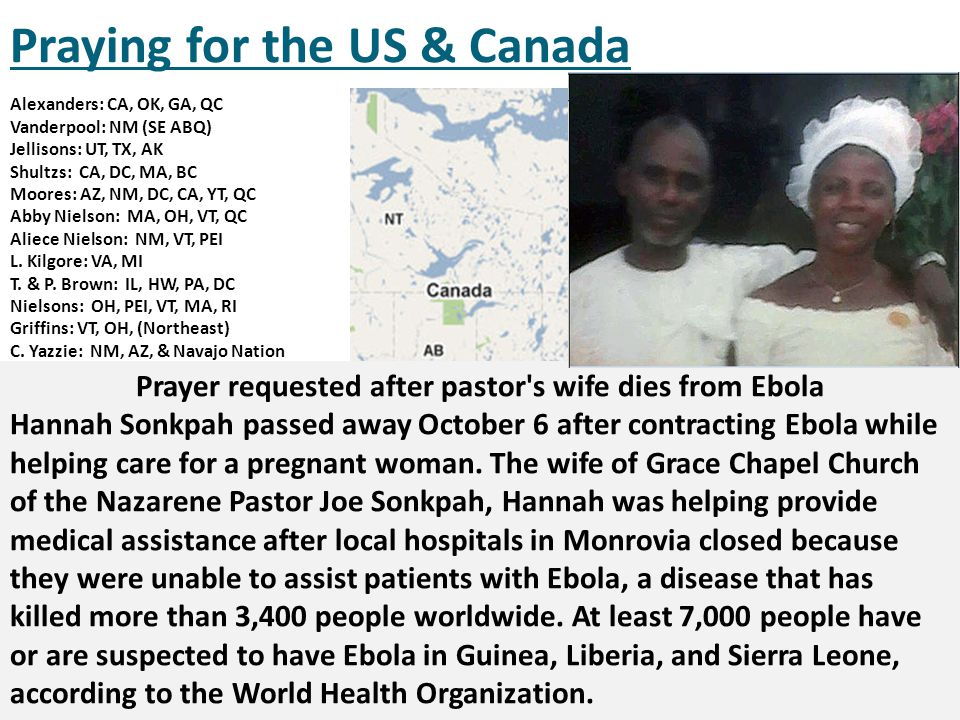 Prayer requested after pastor s wife dies from Ebola