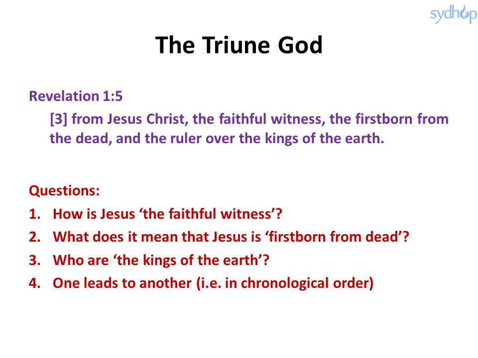 The Triune God Revelation 1:5