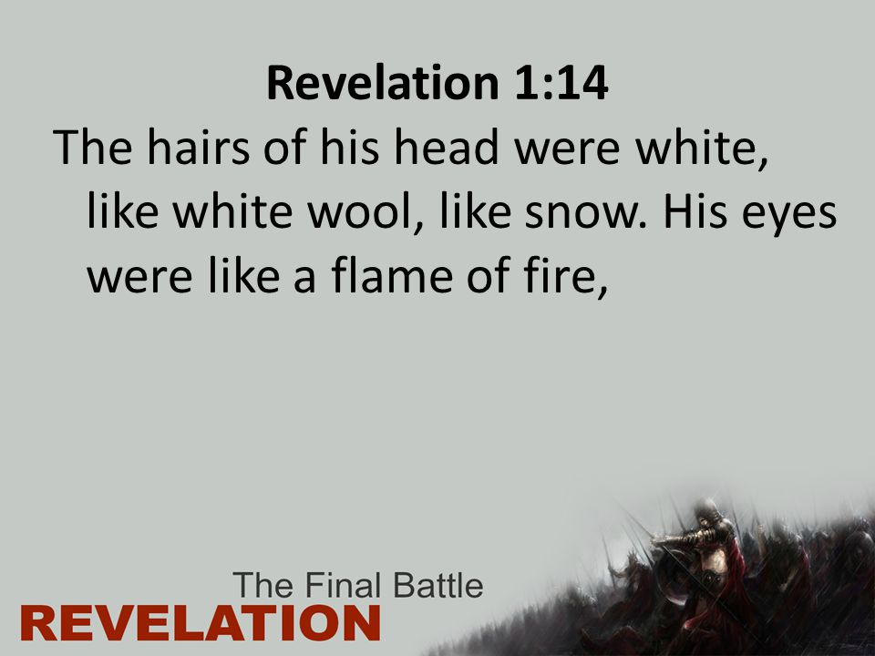 Revelation 1:14 The hairs of his head were white, like white wool, like snow.