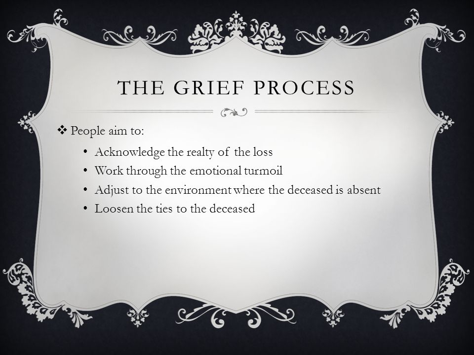 The Grief Process People aim to: Acknowledge the realty of the loss
