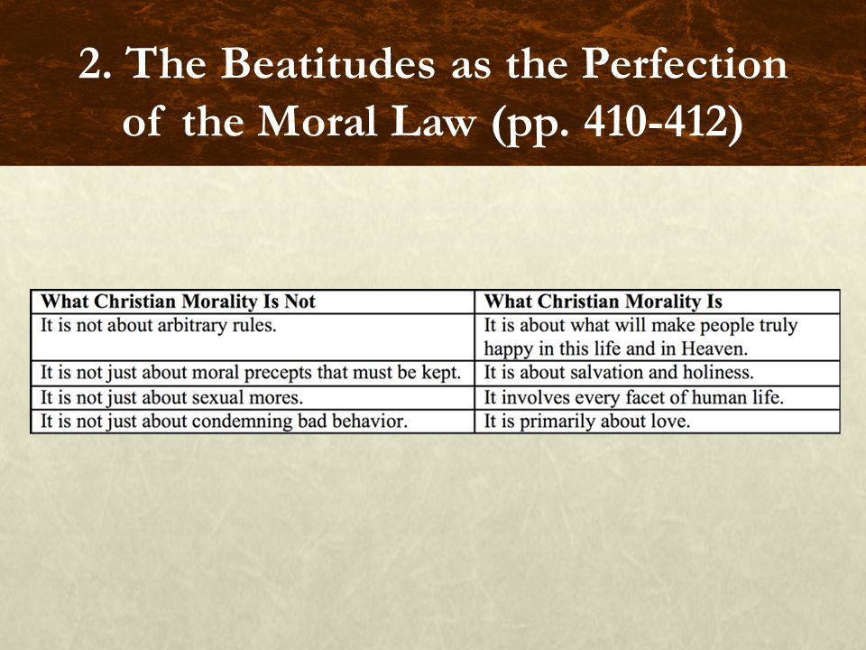 2. The Beatitudes as the Perfection of the Moral Law (pp. 410-412)