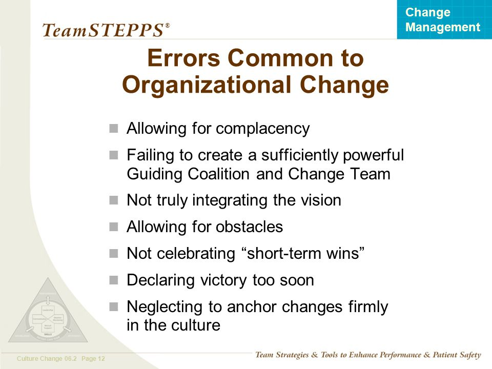 Errors Common to Organizational Change