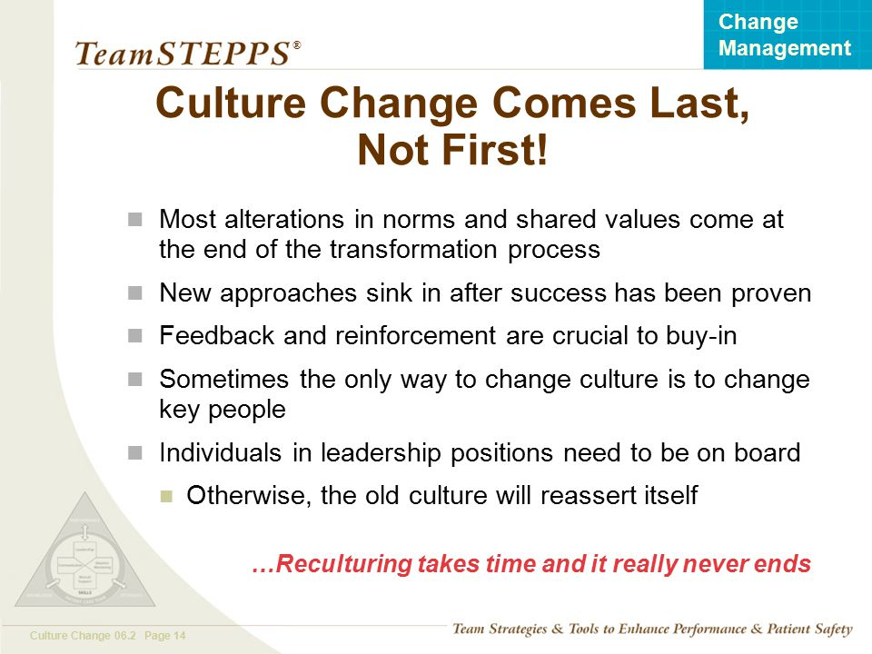 Culture Change Comes Last, Not First!