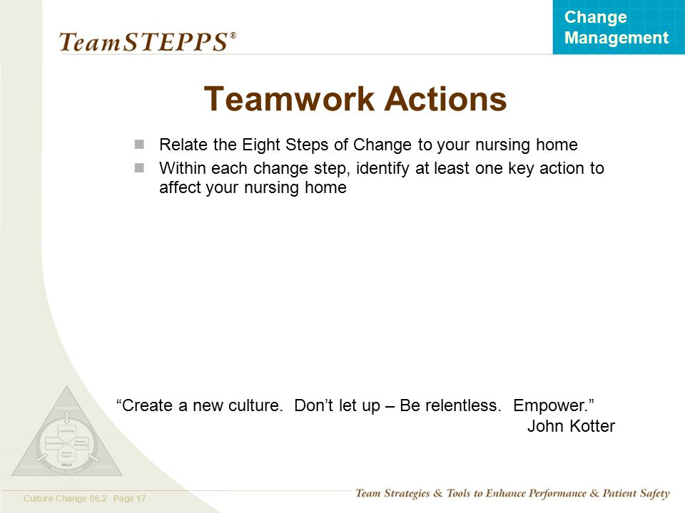 Teamwork Actions Relate the Eight Steps of Change to your nursing home