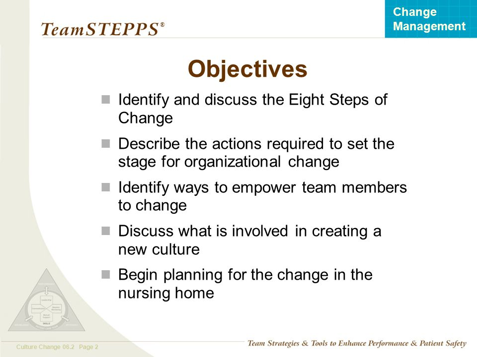 Objectives Identify and discuss the Eight Steps of Change