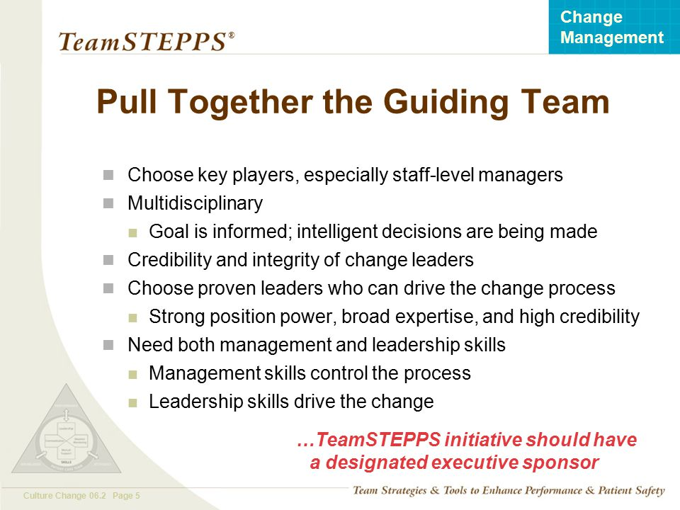 Pull Together the Guiding Team