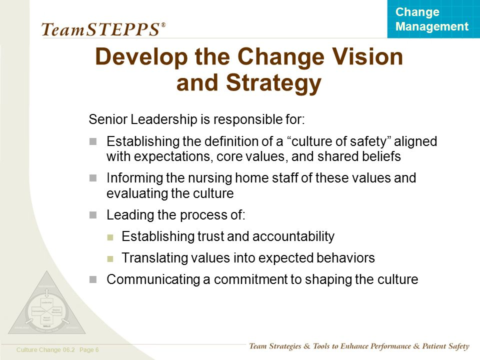 Develop the Change Vision and Strategy