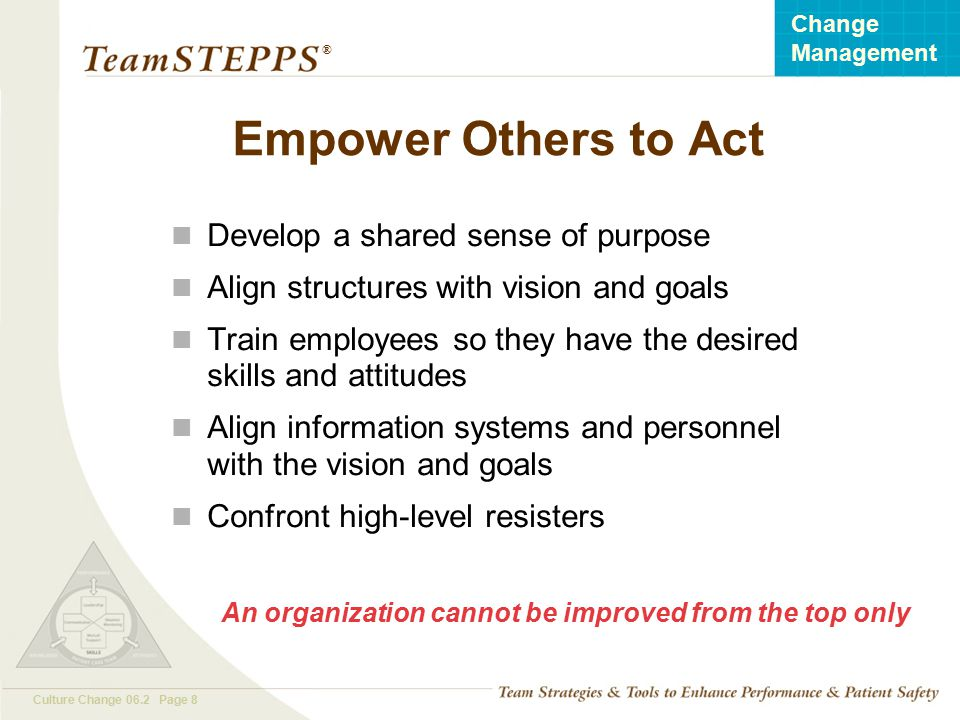 Empower Others to Act Develop a shared sense of purpose