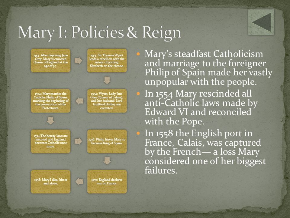 Mary I: Policies & Reign