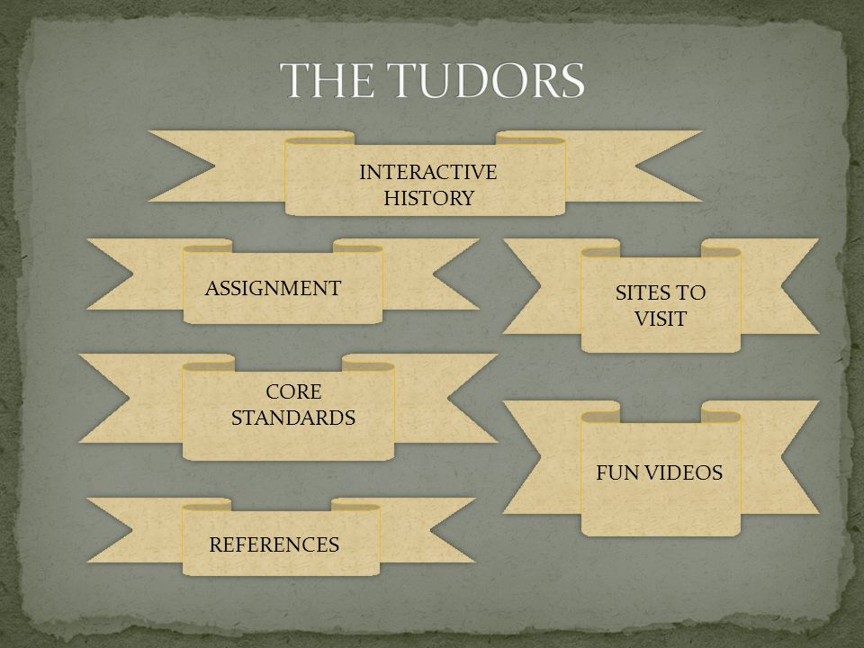 THE TUDORS INTERACTIVE HISTORY ASSIGNMENT SITES TO VISIT