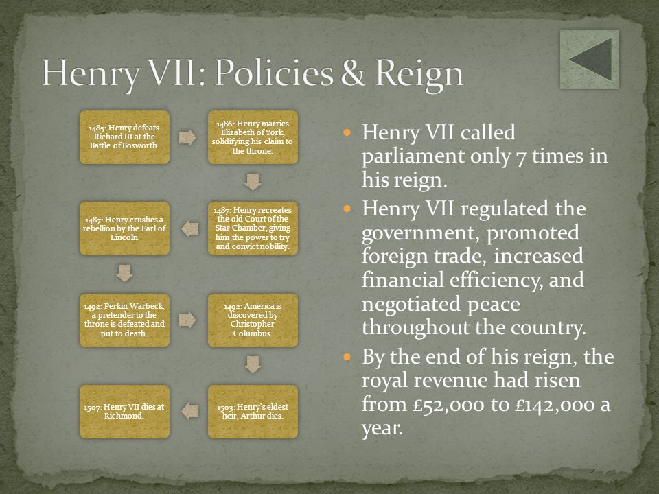 Henry VII: Policies & Reign