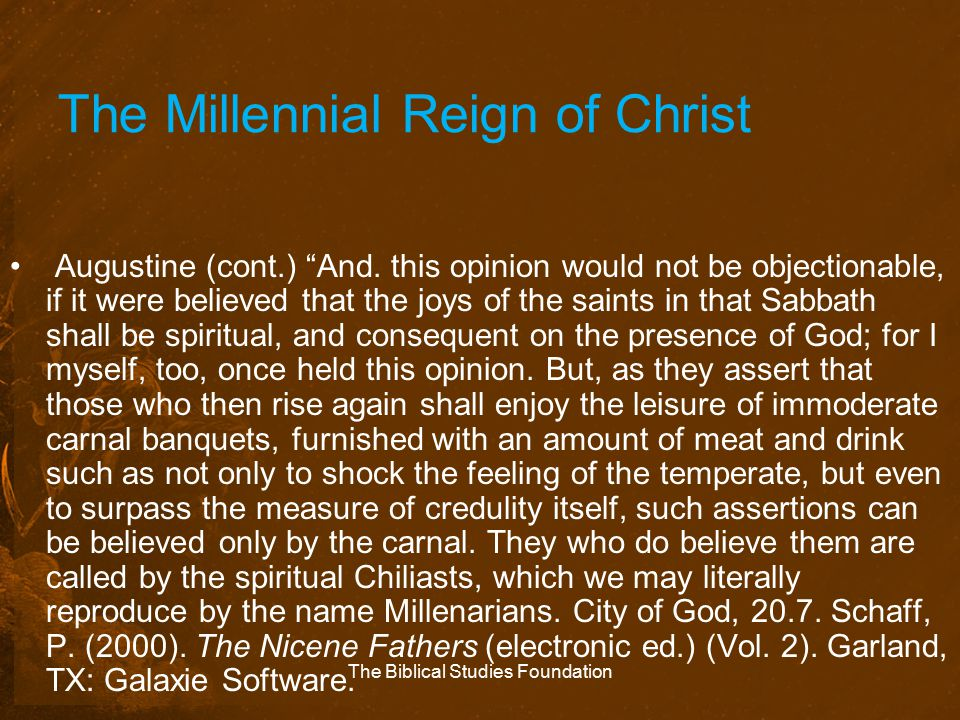 The Millennial Reign of Christ