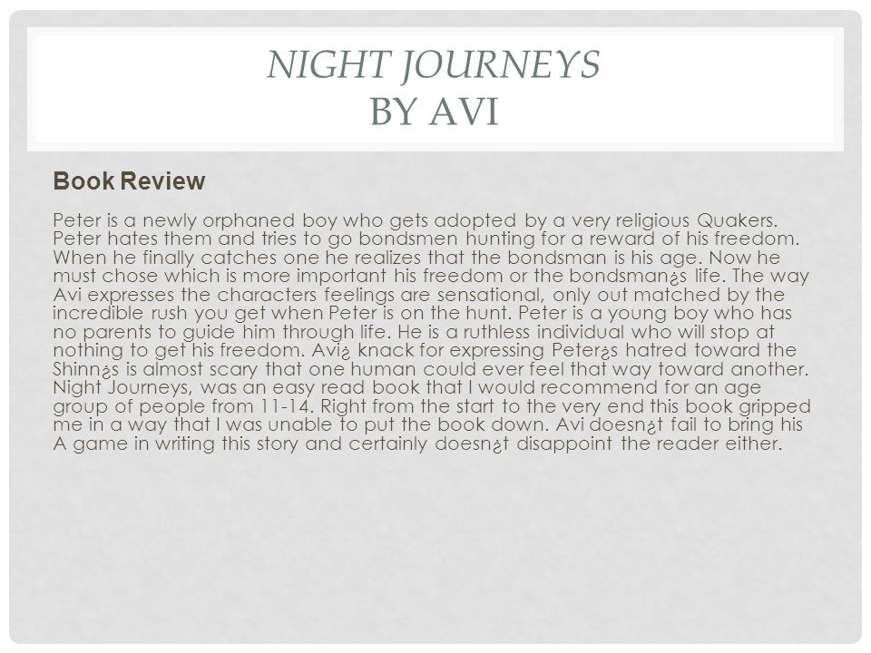 Night Journeys by Avi Book Review