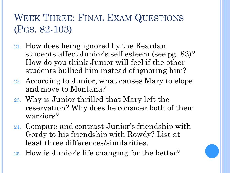 Week Three: Final Exam Questions (Pgs. 82-103)