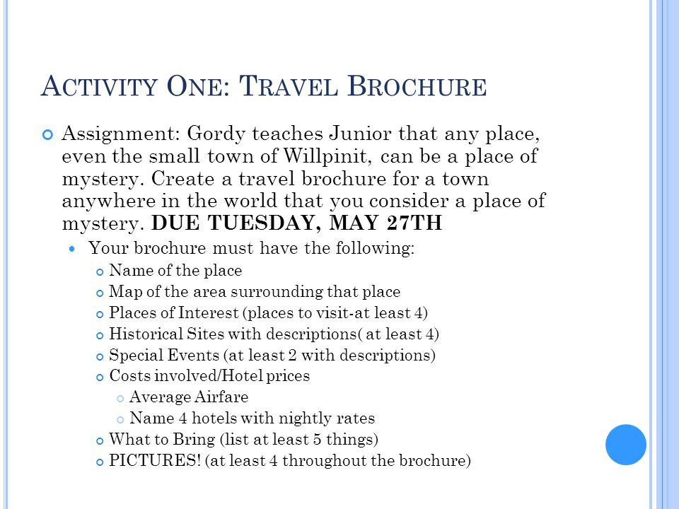 Activity One: Travel Brochure