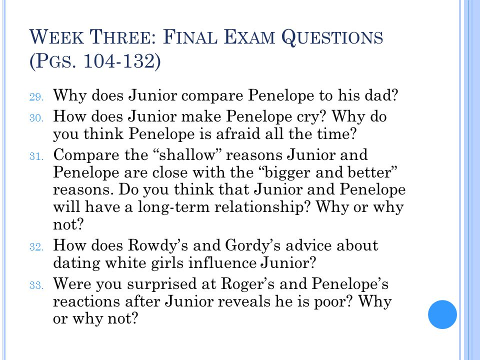 Week Three: Final Exam Questions (Pgs. 104-132)