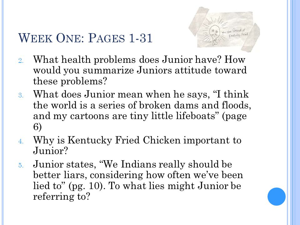 Week One: Pages 1-31 What health problems does Junior have How would you summarize Juniors attitude toward these problems