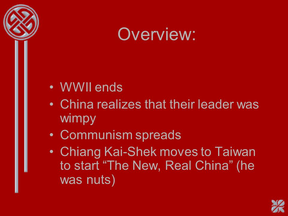Overview: WWII ends China realizes that their leader was wimpy