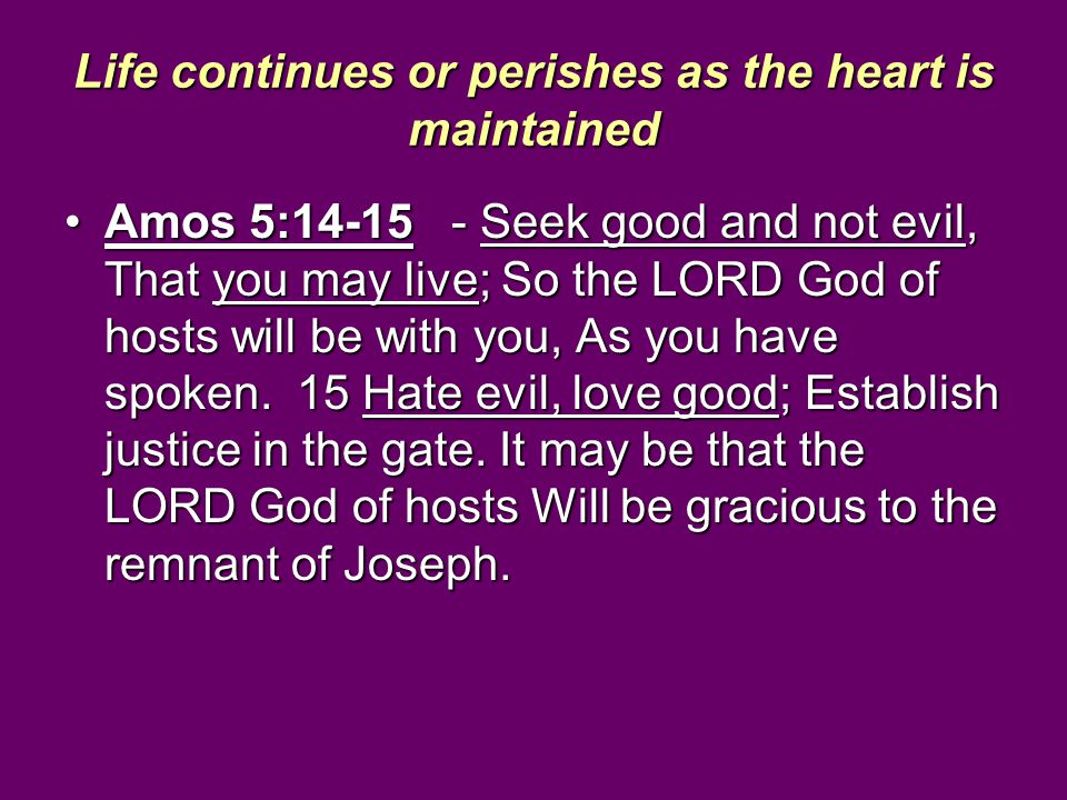 Life continues or perishes as the heart is maintained