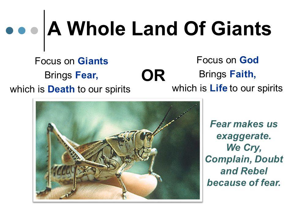 A Whole Land Of Giants OR Focus on God Focus on Giants Brings Faith,
