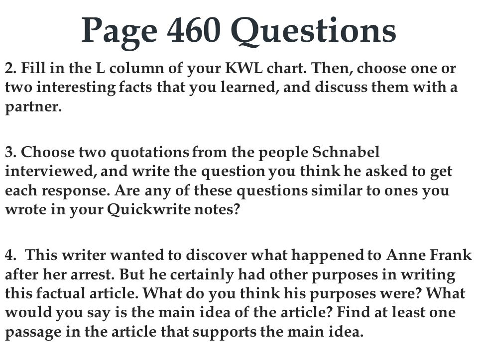 Page 460 Questions