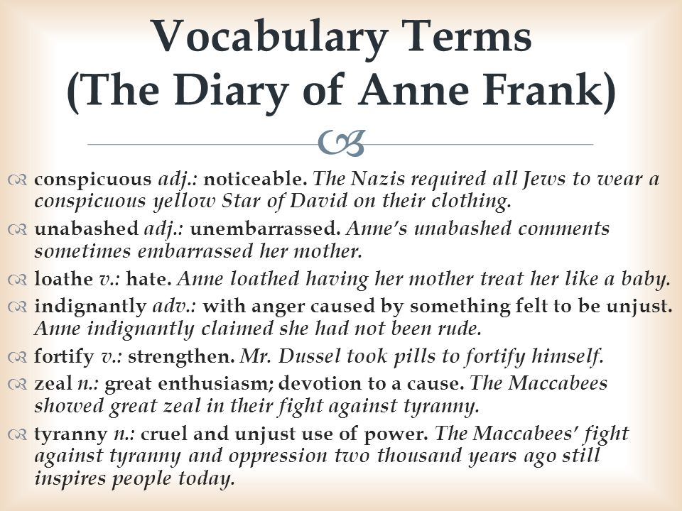 Vocabulary Terms (The Diary of Anne Frank)