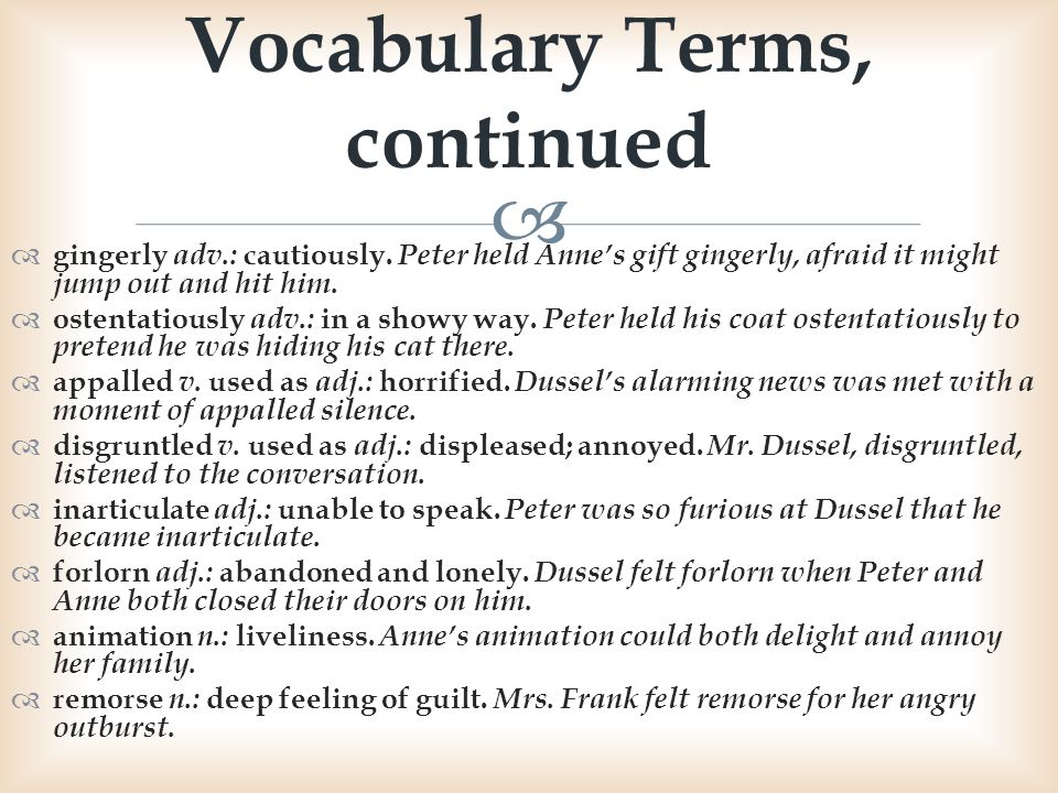 Vocabulary Terms, continued