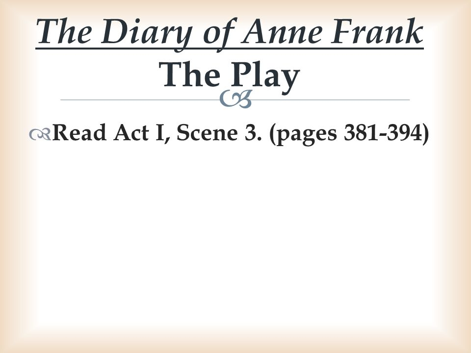 The Diary of Anne Frank The Play
