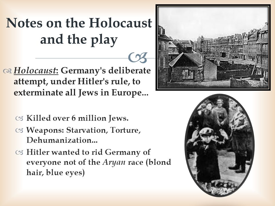 Notes on the Holocaust and the play