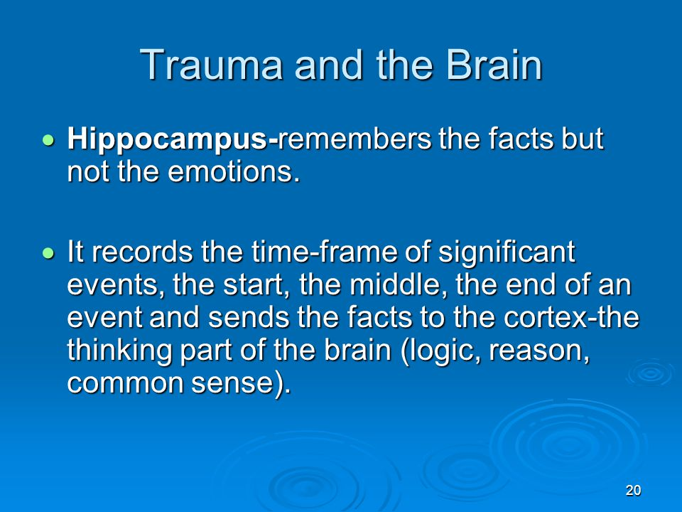 Trauma and the Brain Hippocampus-remembers the facts but not the emotions.
