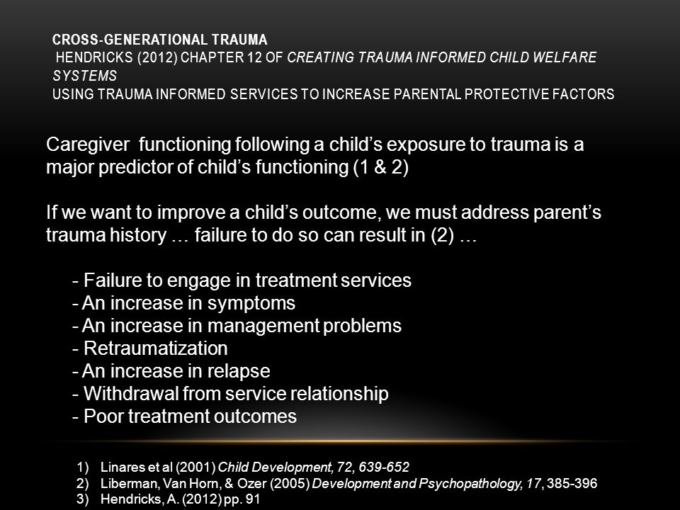 - Failure to engage in treatment services - An increase in symptoms