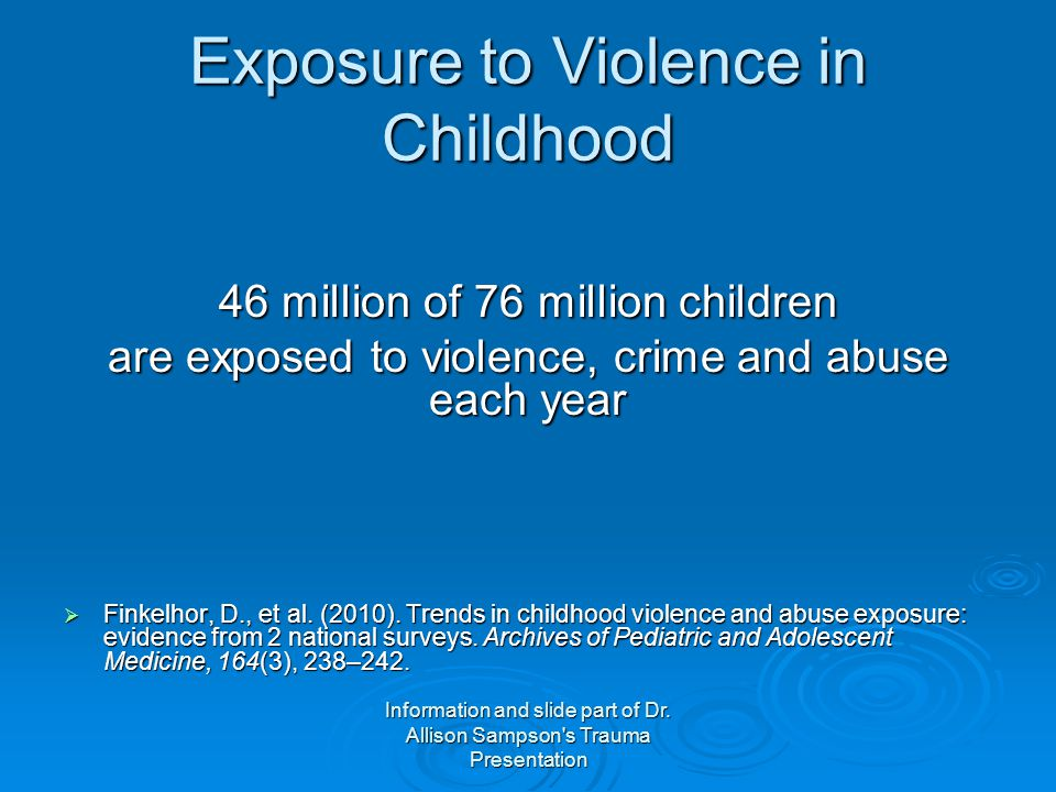 Exposure to Violence in Childhood