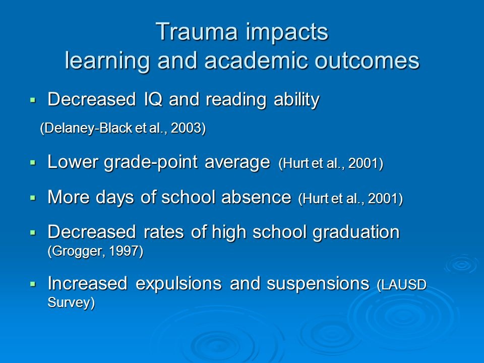 Trauma impacts learning and academic outcomes
