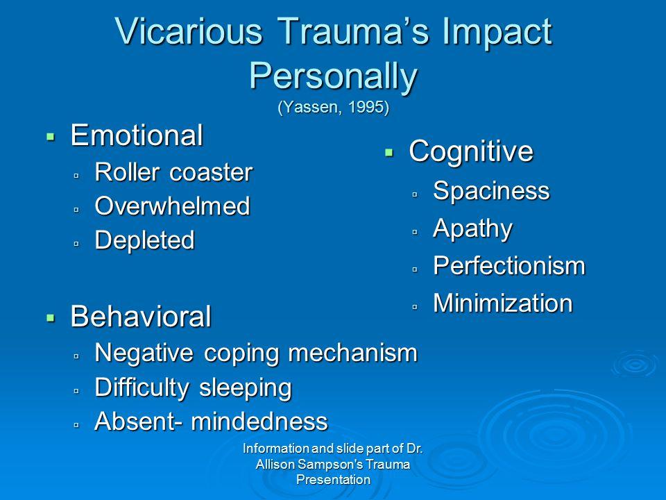 Vicarious Trauma's Impact Personally (Yassen, 1995)