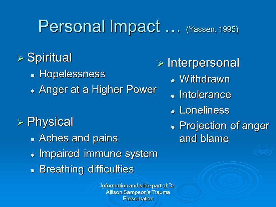 Personal Impact … (Yassen, 1995)
