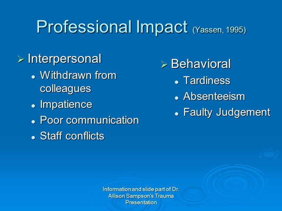 Professional Impact (Yassen, 1995)