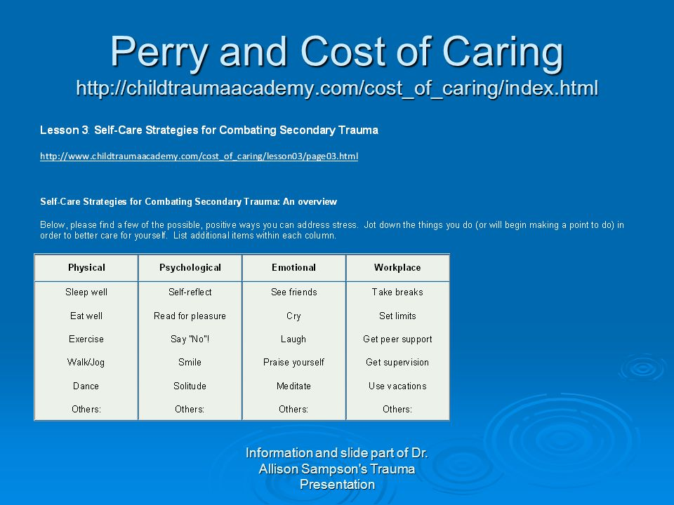 Perry and Cost of Caring http://childtraumaacademy