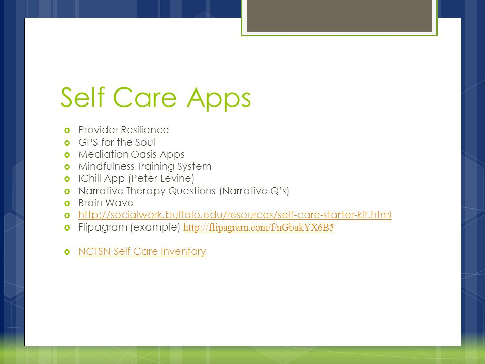 Self Care Apps Provider Resilience GPS for the Soul