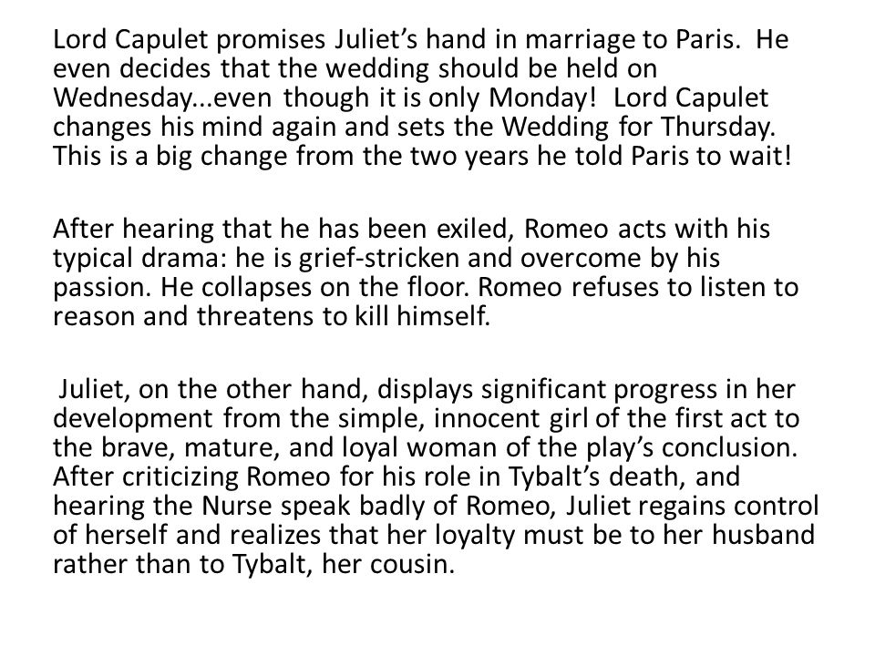 Lord Capulet promises Juliet's hand in marriage to Paris