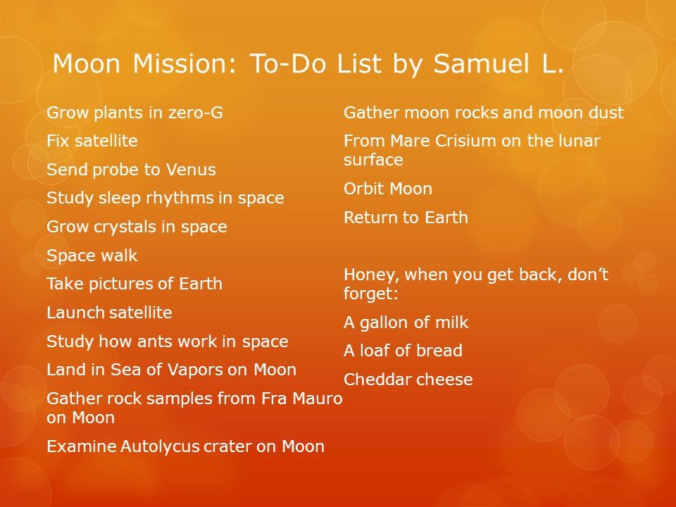 Moon Mission: To-Do List by Samuel L.