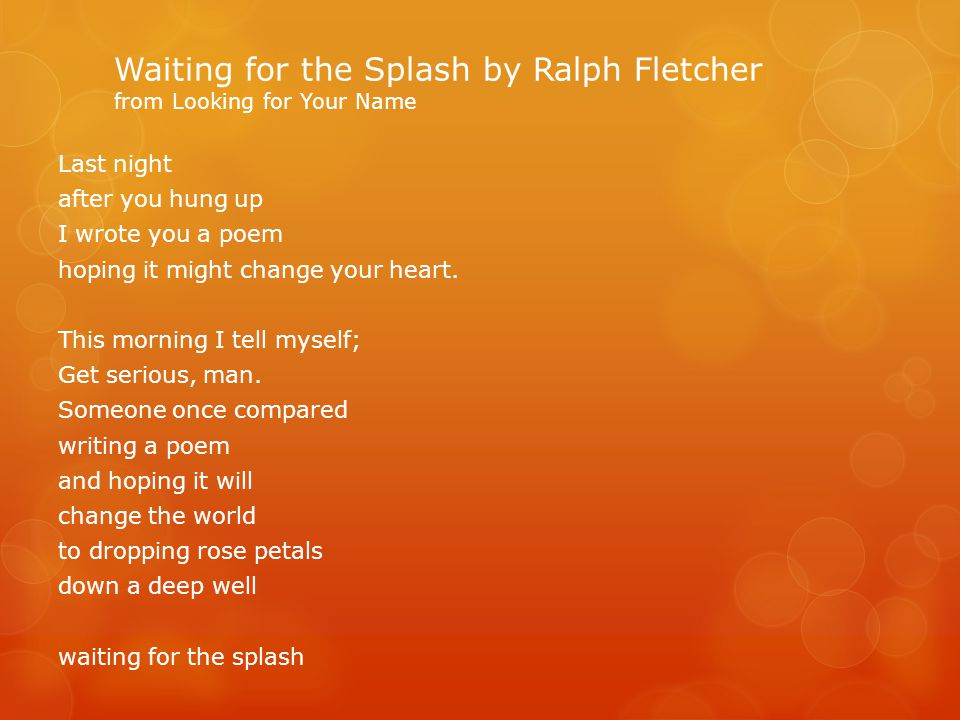 Waiting for the Splash by Ralph Fletcher from Looking for Your Name