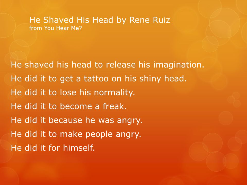 He Shaved His Head by Rene Ruiz from You Hear Me