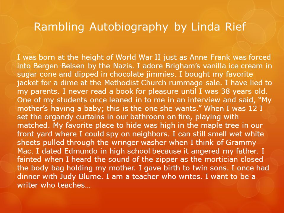 Rambling Autobiography by Linda Rief