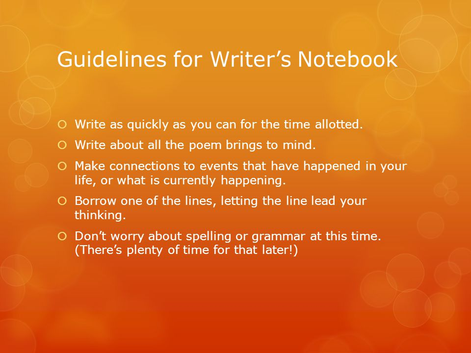 Guidelines for Writer's Notebook