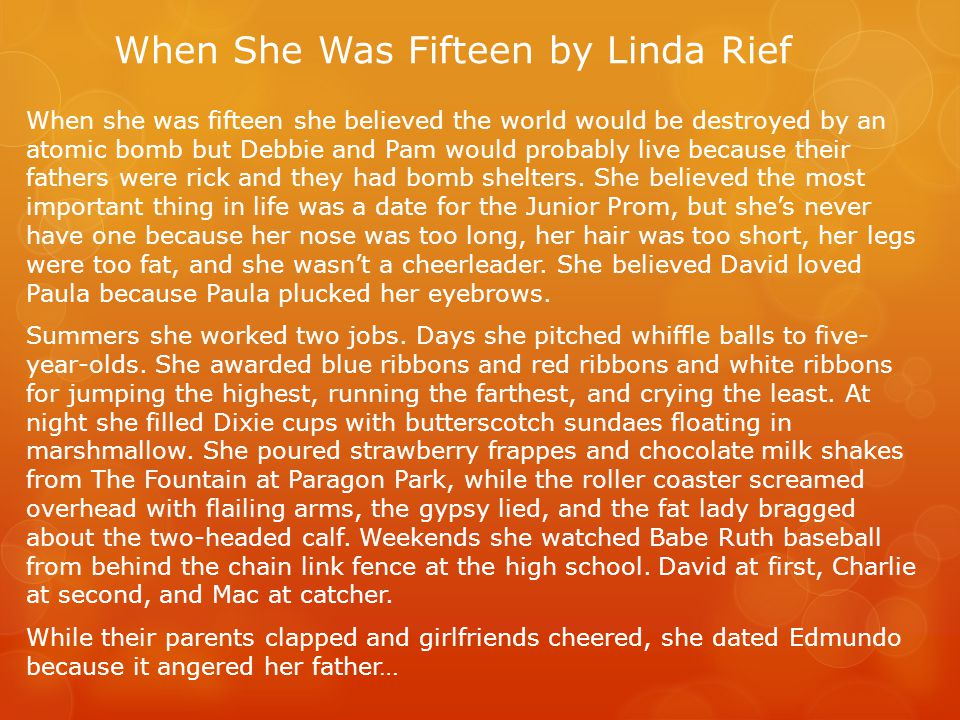 When She Was Fifteen by Linda Rief