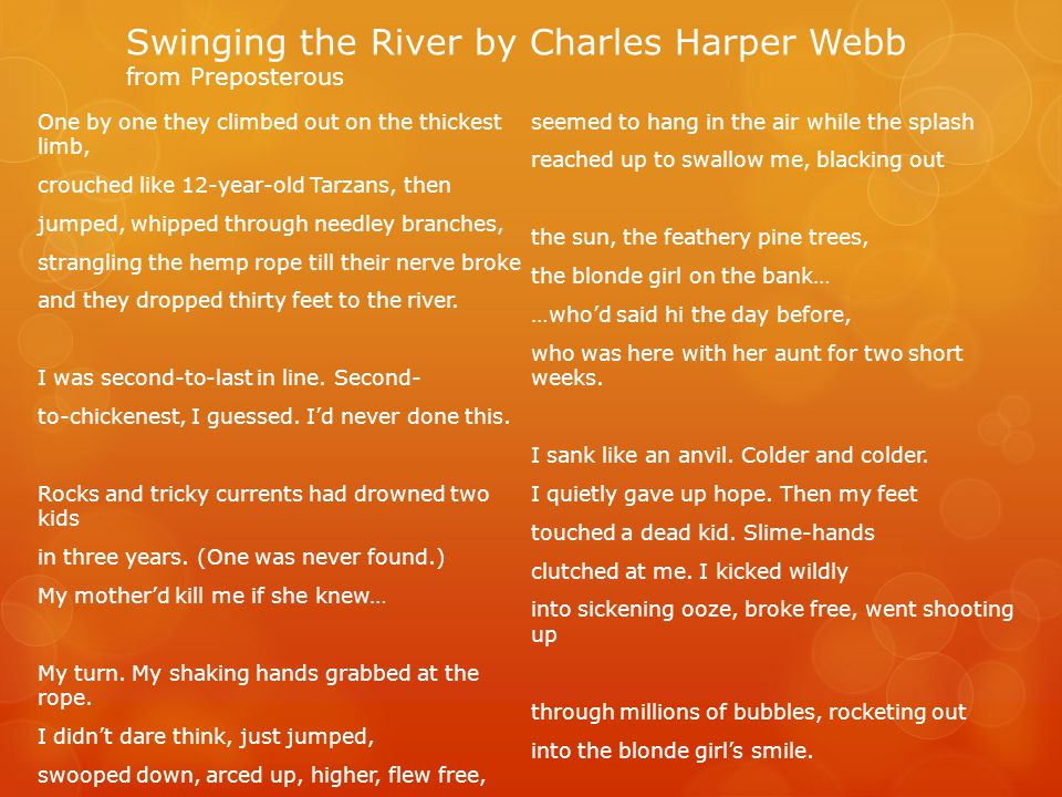Swinging the River by Charles Harper Webb from Preposterous
