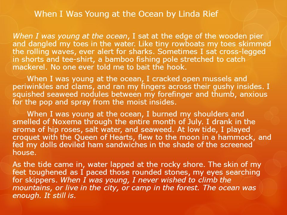 When I Was Young at the Ocean by Linda Rief