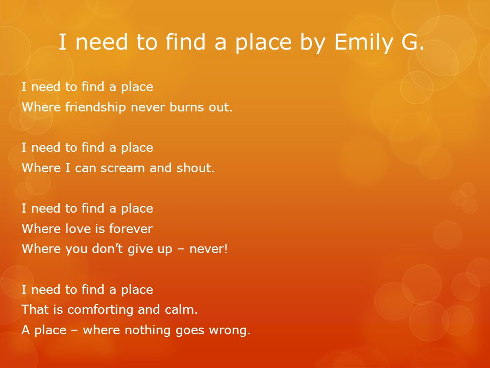 I need to find a place by Emily G.