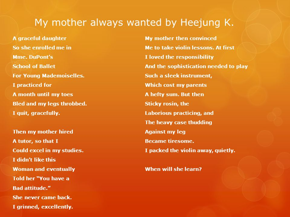 My mother always wanted by Heejung K.