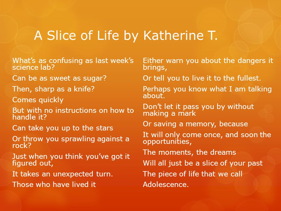 A Slice of Life by Katherine T.